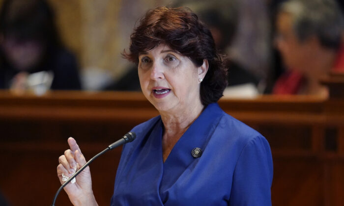 Louisiana state Sen. Beth Mizell (R-Franklinton) speaks in the Senate Chambers during a veto session in Baton Rouge, La., on July 20, 2021. (AP Photo/Gerald Herbert)