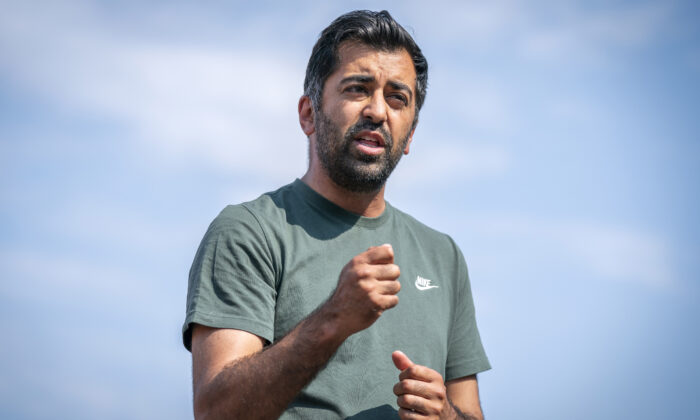 Scotland's Health Secretary Humza Yousaf speaks to the media after receiving his second dose of the BioNTech Pfizer COVID-19 vaccine at the Glasgow Central Mosque in Scotland on July 19, 2021. (Jane Barlow)