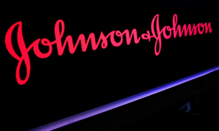 The Johnson & Johnson logo is displayed on a screen on the floor of the New York Stock Exchange (NYSE) in New York, on May 29, 2019. (Brendan McDermid/Reuters)