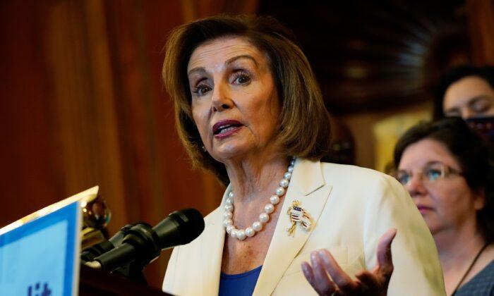 House Speaker Nancy Pelosi (D-Calif.) speaks during a news conference at the U.S. Capitol in Washington, U.S., on July 20, 2021. (Elizabeth Frantz/Reuters)