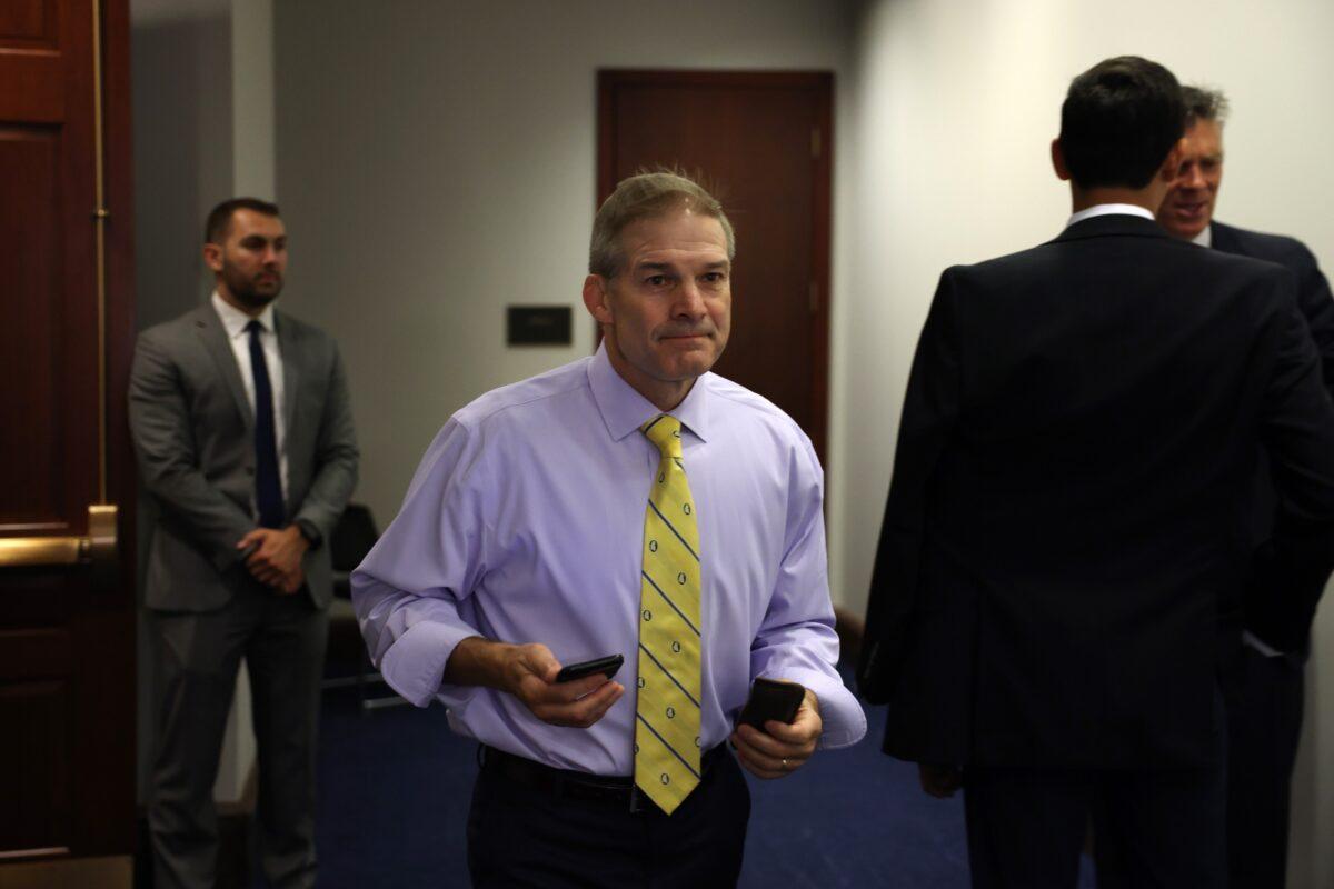 Rep. Jim Jordan (R-Ohio) walks into the U.S. Capitol in Washington on July 20, 2021. (Anna Moneymaker/Getty Images)