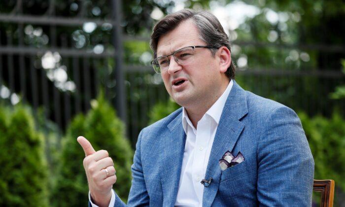 Ukrainian Foreign Minister Dmytro Kuleba speaks during an interview in Kyiv, Ukraine, on June 17, 2021. (Gleb Garanich/Reuters)