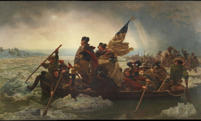"""Washington Crossing the Delaware,"" 1851, by Emanuel Leutze. Oil on Canvas, 12.4 feet by 21.2 feet. Metropolitan Museum of Art, New York. (Public Domain)"