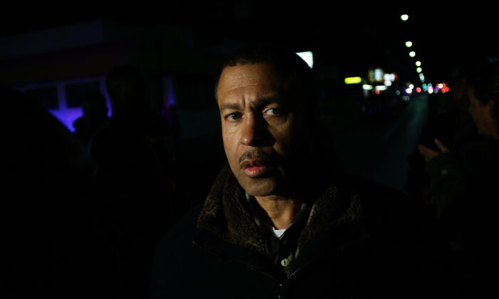 Then-Detroit Police Chief James Craig talks to reporters about a shooting outside of a barber shop where nine people were shot in Detroit, Mich., on Nov. 6, 2013. (Joshua Lott/Getty Images)