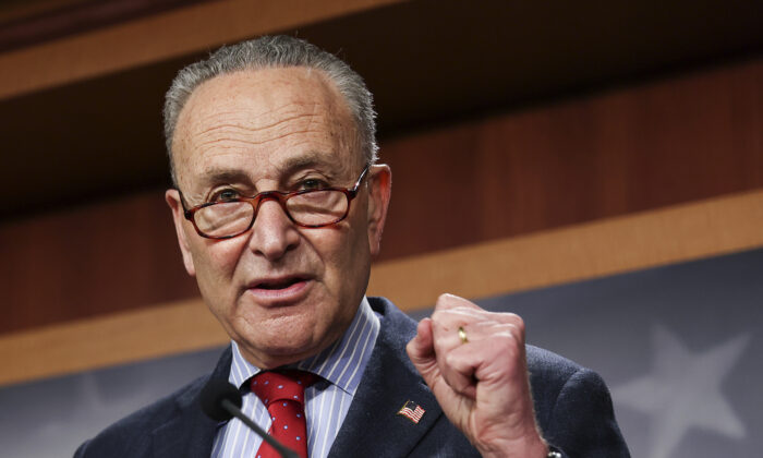 Senate Majority Leader Chuck Schumer (D-N.Y.) speaks to reporters at the U.S. Capitol on March 25, 2021. (Jonathan Ernst/Pool/Getty Images)