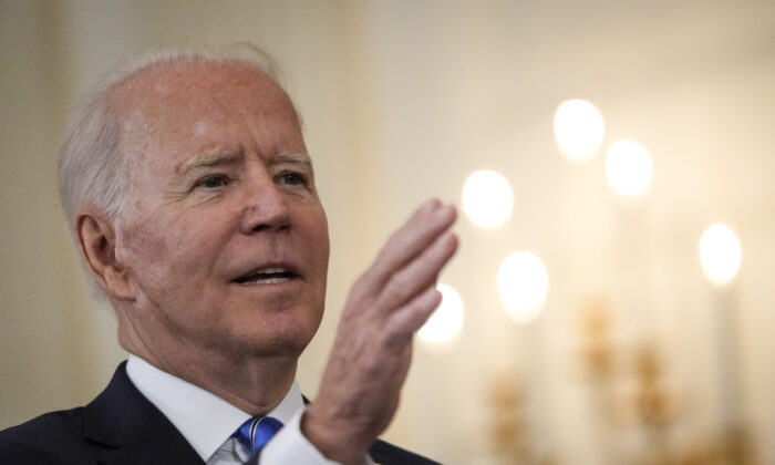 President Joe Biden speaks about the nation's economic recovery amid the COVID-19 pandemic in the State Dining Room of the White House in Washington, D.C., on July 19, 2021. (Photo by Drew Angerer/Getty Images)