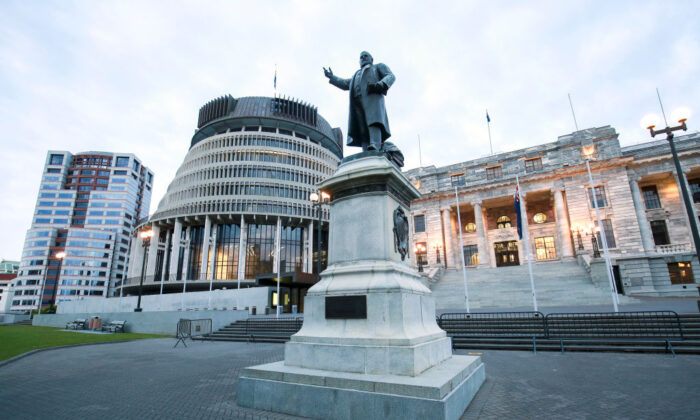 L to R, a general view of Bowen House, The Beehive, statue of Richard Seddon and Parliament House in Wellington, New Zealand on October 17, 2020. (Hagen Hopkins/Getty Images)