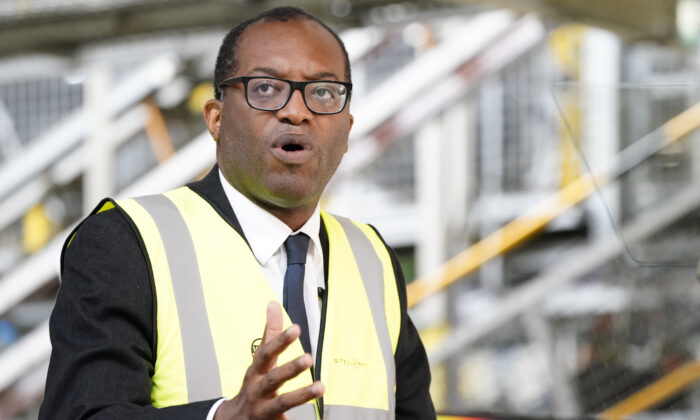 Kwasi Kwarteng, Secretary of State at the Department of Business, Energy, and Industrial Strategy, speaking during a press conference at Vauxhall's plant in Ellesmere Port, Cheshire, on July 6, 2021. (Peter Byrne/PA)