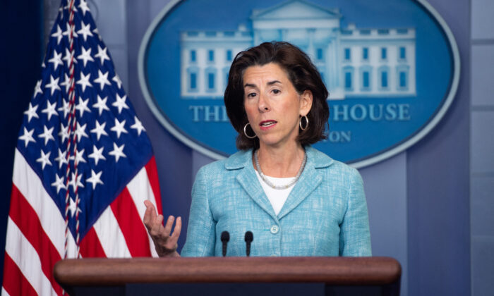 Commerce Secretary Gina Raimondo speaks during the daily press briefing in the Brady Briefing Room of the White House on July 22, 2021. (SAUL LOEB/AFP via Getty Images)