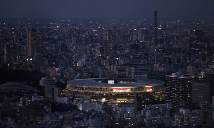 Tokyo Olympic Stadium is pictured from Shibuya Sky Deck in Tokyo, Japan, on July 22, 2021. (Carl Court/Getty Images)