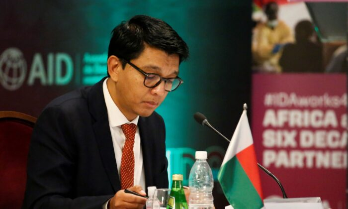 Madagascar's President Andry Rajoelina attends a meeting to discuss the 20th replenishment of the World Bank's International Development Association, in Abidjan, Ivory Coast, on July 15, 2021. (Luc Gnago/Reuters)