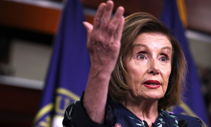 House Speaker Nancy Pelosi (D-Calif.) gestures during her weekly news conference at the Capitol building in Washington, on July 22, 2021. (Anna Moneymaker/Getty Images)