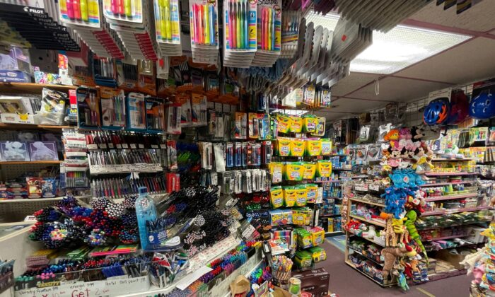 School supplies are displayed at Stationery and Toy World in New York City, N.Y., on July 21, 2021. (Joyce Philippe/Reuters)