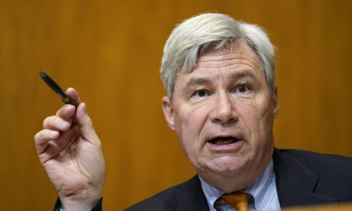 Sen. Sheldon Whitehouse (D-R.I.) speaks during a congressional hearing in Washington on Feb. 25, 2021. (Susan Walsh/Pool/Getty Images)