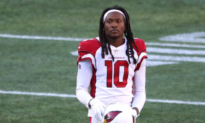 DeAndre Hopkins of the Arizona Cardinals looks on during the game against the New England Patriots at Gillette Stadium in Foxborough, Mass., on Nov. 29, 2020. (Maddie Meyer/Getty Images)