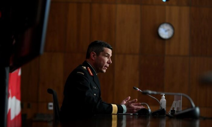 Maj.-Gen. Dany Fortin, vice-president of logistics and operations at the Public Health Agency of Canada, participates in a news conference on the COVID-19 pandemic in Ottawa, on Jan. 15, 2021. (The Canadian Press/Justin Tang)