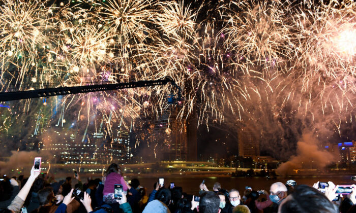 A general view is seen of fireworks after Brisbane was announced as the host city of the 2032 Olympics at the Brisbane Olympic Live Site in Brisbane, Australia, on July 21, 2021. (Albert Perez/Getty Images)
