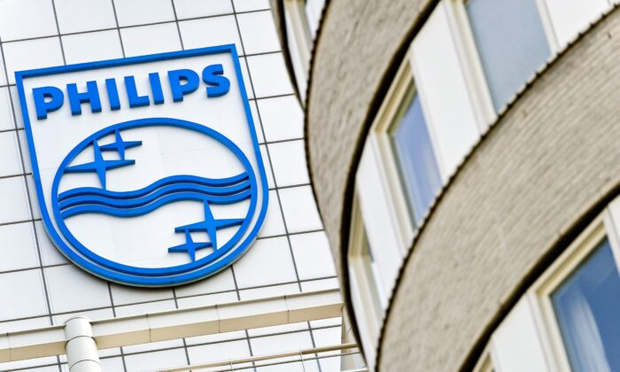 The Philips logo on the office in Amsterdam, Netherlands, on April 18, 2011. (Koen van Weel/ANP/AFP via Getty Images)