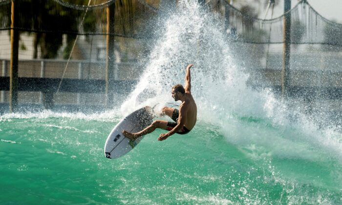 Portuguese surfer Frederico Morais practices for a World Surf League competition at Surf Ranch, in Lemoore, Calif., on June 15, 2021.(Noah Berger/AP Photo)