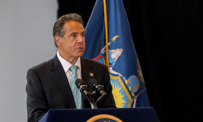 New York Gov. Andrew Cuomo speaks during a press event in New York City on June 15, 2021. (David Dee Delgado/Getty Images)
