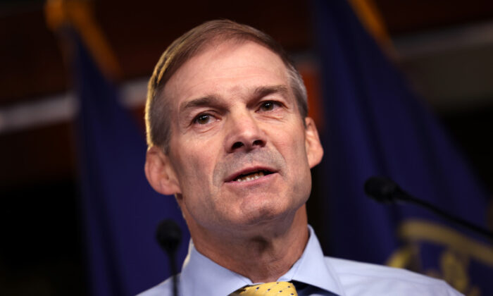 Rep. Jim Jordan (R-Ohio) speaks at a news conference in Washington, on July 21, 2021. (Kevin Dietsch/Getty Images)