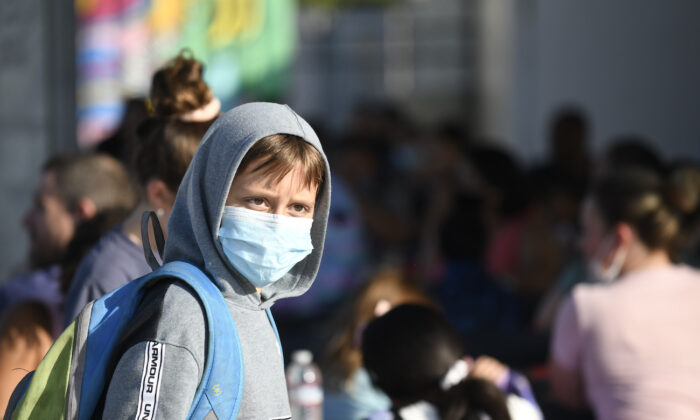 A masked student at an elementary school in Chula Vista, Calif., on July 21, 2021. (Denis Poroy/AP Photo)