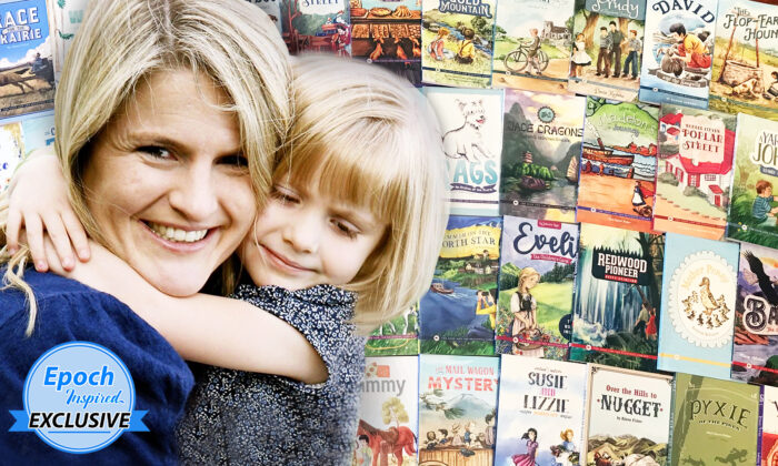 Jenny Phillips, founder of homeschool curriculum company The Good and the Beautiful, with one of her children. (Background) Books from The Good and the Beautiful Library and Book List. (Courtesy ofJenny Phillips; Background: The Epoch Times)