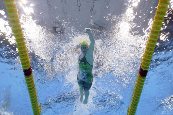 Australia's Ariarne Titmus competes in a 400-meter freestyle heat