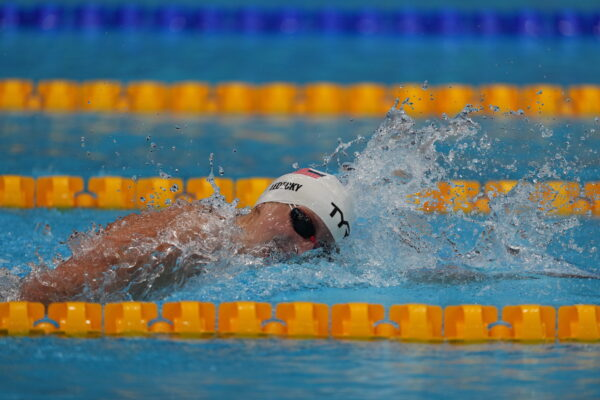 Katie Ledecky, of the United States, swims in a heat