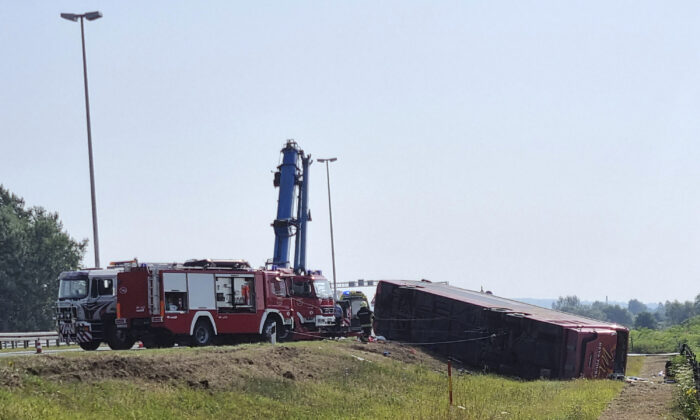 A view of the site of an accident near Slavonski Brod, Croatia, on July 25, 2021. (Luka Safundzic, SBonline/AP Photo)