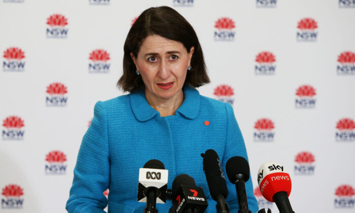 NSW Premier Gladys Berejiklian speaks during a COVID-19 update and press conference in Sydney, Australia, on July 25, 2021. (Lisa Maree Williams Pool/Getty Images)