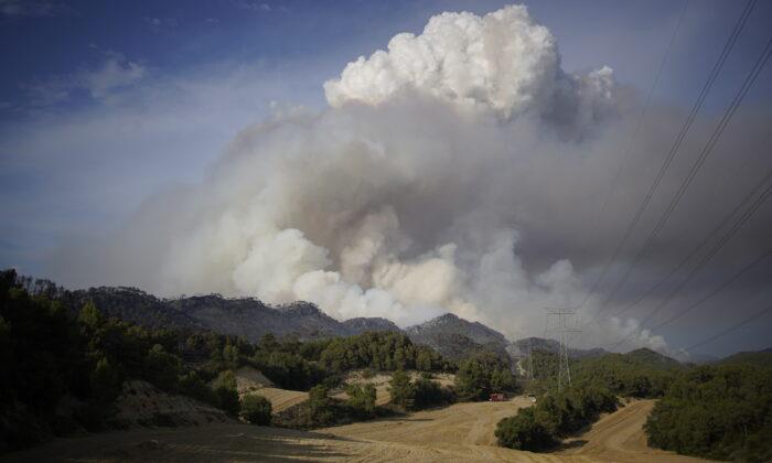 A wildfire in Santa Coloma de Queralt, near Tarragona, Spain, on July 25, 2021. (Joan Mateu Parra/AP Photo)