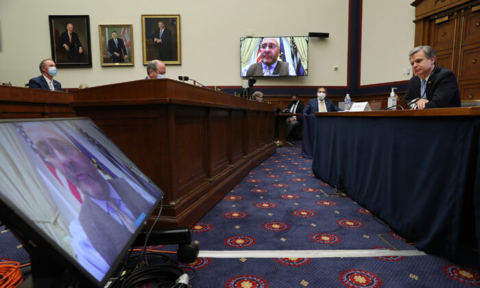 Rep. Clay Higgins (R-La.) questioning FBI Director Christopher Wray via video connection during a hearing on Capitol Hill, in Washington, on Sept. 17, 2020. (Chip Somodevilla/Getty Images)