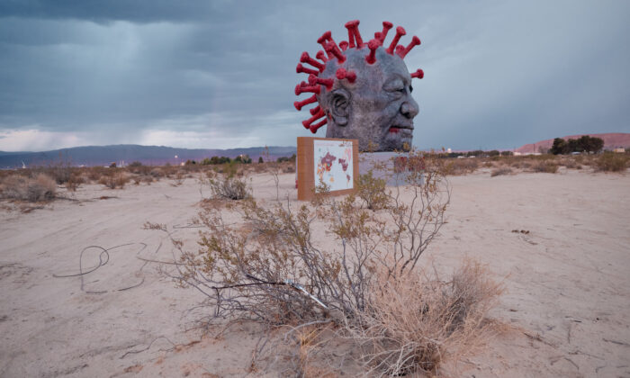 """The """"CCP Virus"""" sculpture was unveiled at Liberty Sculpture Park in Yermo, Calif.., on June 4, 2021, the anniversary of China's Tiananmen Square massacre. (Courtesy of Jonas Yuan)"""