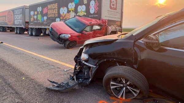 Several of the vehicles involved in a fatal pileup