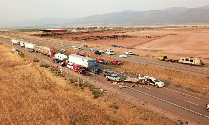 The scene of a fatal pileup is seen on Interstate 15 in Millard County, near the town of Kanosh, Utah, on July 25, 2021. (Utah Highway Patrol via AP)