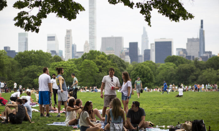 People gather in Central Park in New York on May 22, 2021. (Kena Betancur/AFP via Getty Images)