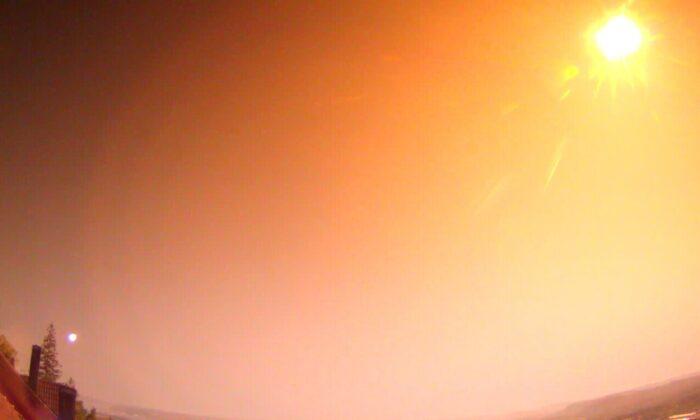 A view of an unusually large meteor is seen in Oslo, Norway, on July 25, 2021. (Norwegian Meteor Network/NTB via AP)