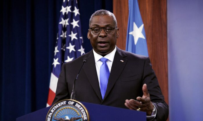 Defense Secretary Lloyd Austin holds a press conference, at The Pentagon in Washington, on July 21, 2021. (Olivier Douliery/AFP via Getty Images)