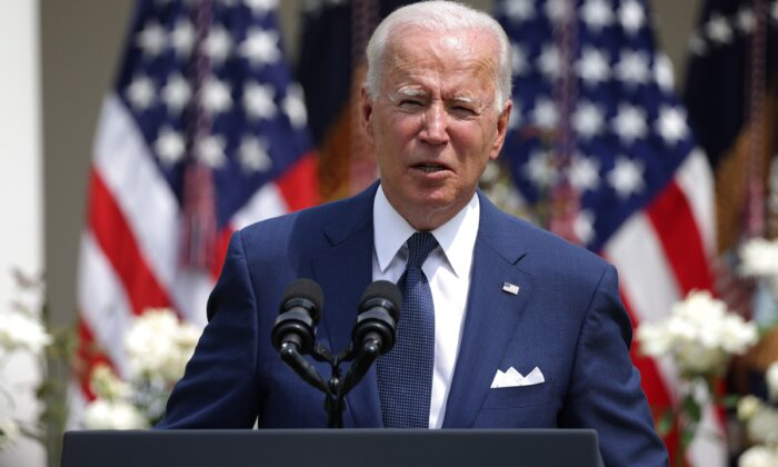 President Joe Biden delivers remarks during an event in the Rose Garden of the White House on July 26, 2021. (Anna Moneymaker/Getty Images)