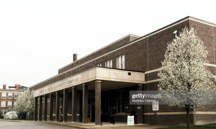 Detroit residents gathered at a pop-up clinic at Western International High School on April 12, 2021 in Detroit, Michigan. (Matthew Hatcher/Getty Images)