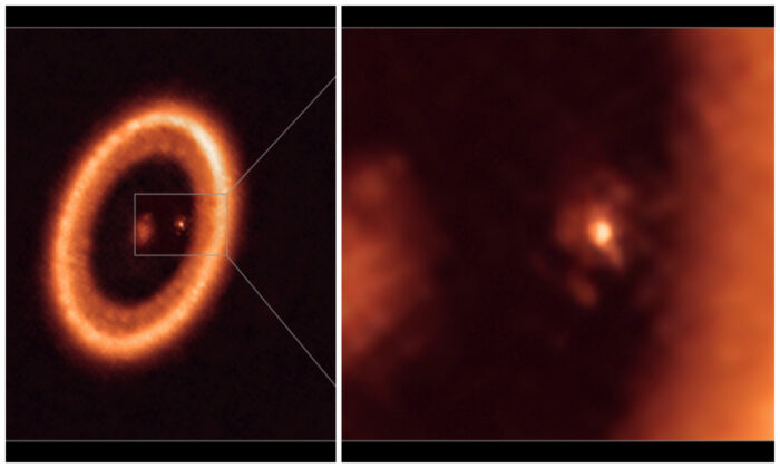An undated image, taken with the Atacama Large Millimeter/submillimeter Array (ALMA), in which the European Southern Observatory is a partner, shows wide (L) and close-up (R) views of the moon-forming disc surrounding PDS 70c, a young Jupiter-like planet nearly 400 light-years away.   (Alma Eso/NAOJ/NRAO/Handout via Reuters)