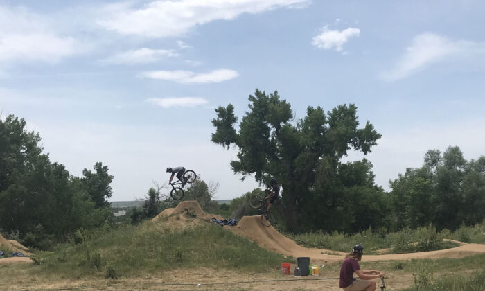 An intrepid biker leaps into the sky at the Valmont Bike Park in Boulder, Colo. (Courtesy of Lesley Sauls Frederikson)