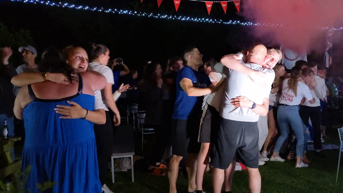 family and friends of British swimmer Tom Dean celebrating