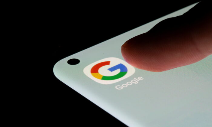 Google app is seen on a smartphone in this illustration taken, July 13, 2021. (Dado Ruvic/Illustration/Reuters)