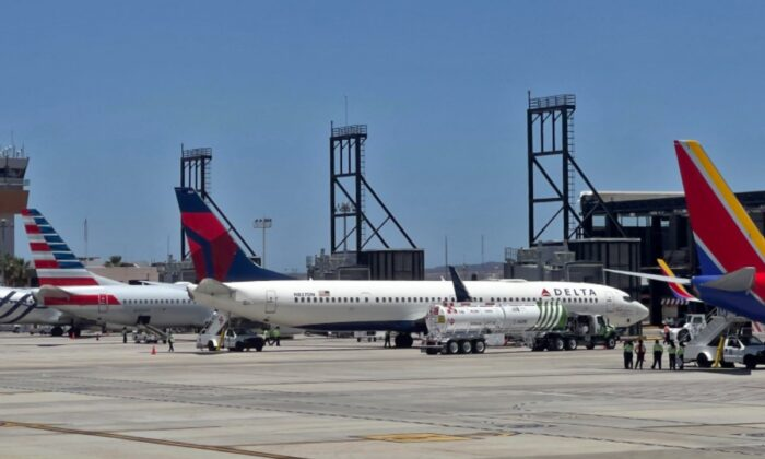 Delta Airlines' aircrafts are seen at the San Jose del Cabo International Airport (SJD) in Baja California state, Mexico, on April 29, 2021. (Daniel Slim/AFP via Getty Images)