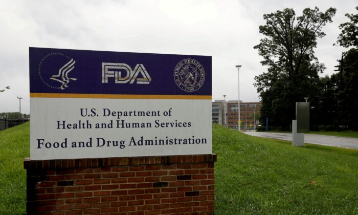 Signage is seen outside of the Food and Drug Administration (FDA) headquarters in White Oak, Md., on Aug. 29, 2020. (Andrew Kelly/Reuters)