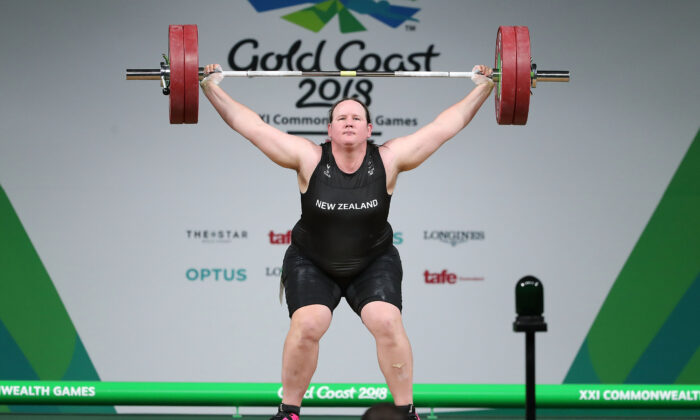 Laurel Hubbard of New Zealand, who competed at the Tokyo Olympic, competes in the Women's +90kg Final during the Weightlifting on day five of the Gold Coast 2018 Commonwealth Games at Carrara Sports and Leisure Centre on April 9, 2018 on the Gold Coast, Australia. (Photo by Scott Barbour/Getty Images)