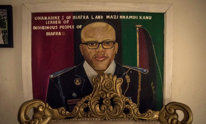 An image of Mazi Nnamdi Kanu, leader of Indigenous People of Biafra (IPOB) hangs on a wall in a house in Umuahia, one of the pro-Biafran separatist regions, on Feb. 13, 2019. (Cristina Aldehuela/AFP via Getty Images)