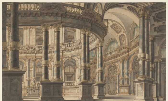 """""""Circular Colonnaded Atrium,"""" circa 1730, attributed to Giuseppe Galli Bibiena. Pen and brown ink, gray wash, blue and greenwatercolor, and white opaque watercolor; 15 7/8 inches by24 5/8 inches.Promised gift of Jules Fisher,The Morgan Library & Museum.(Janny Chiu/The Morgan Library & Museum)"""